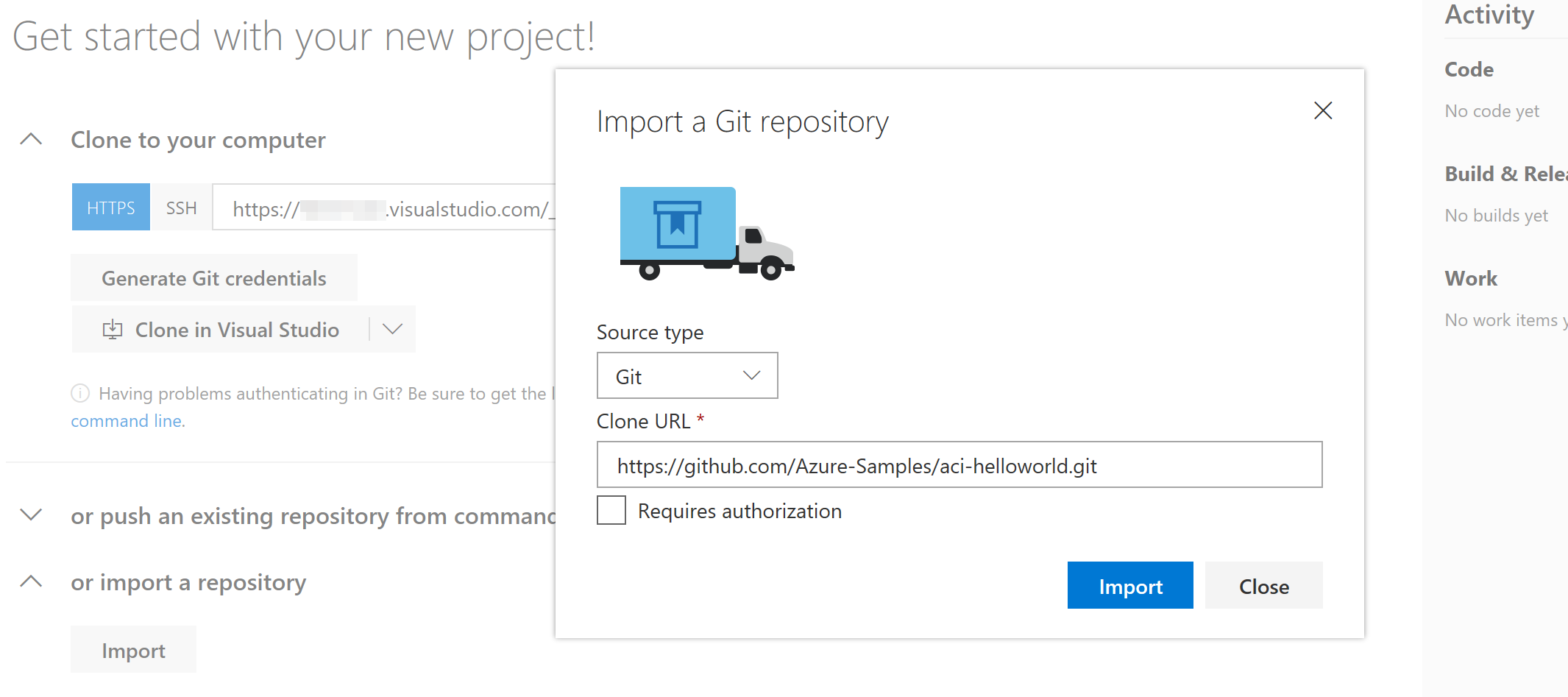 VSTS: Import Repository